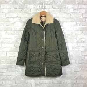 Free People Olive Green Quilted Sherpa Coat 0
